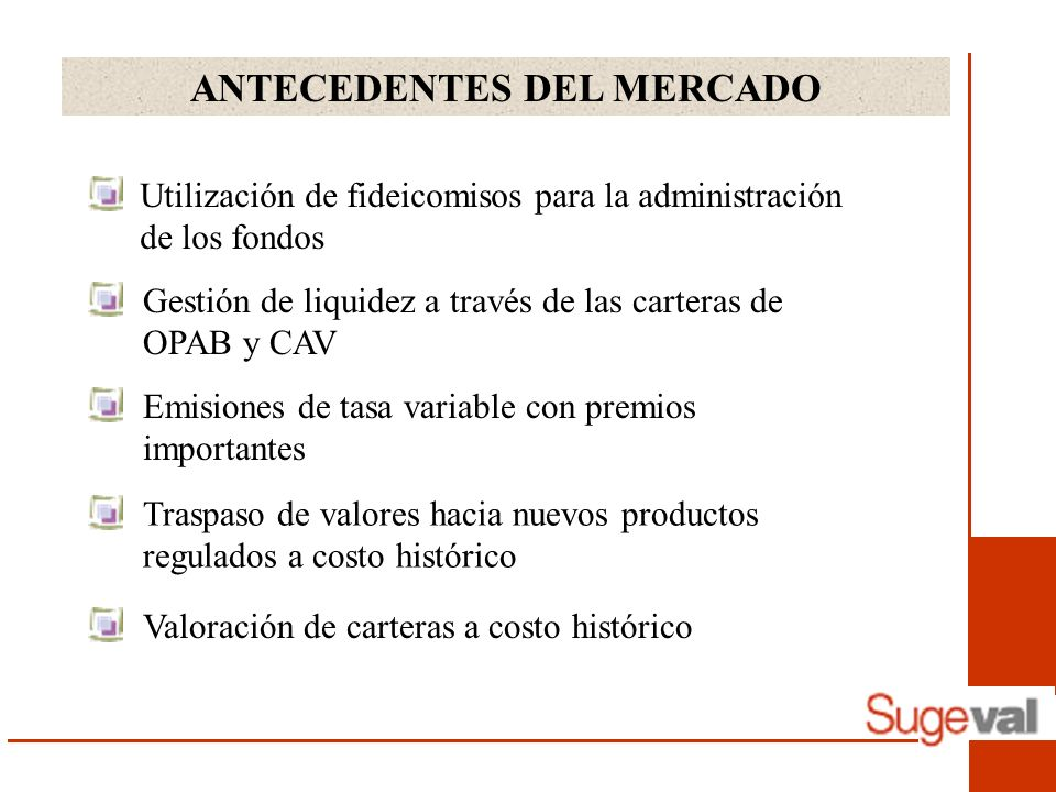 ANTECEDENTES DEL MERCADO Utilización de fideicomisos para la administración de los fondos Gestión de liquidez a través de las carteras de OPAB y CAV Emisiones de tasa variable con premios importantes Valoración de carteras a costo histórico Traspaso de valores hacia nuevos productos regulados a costo histórico
