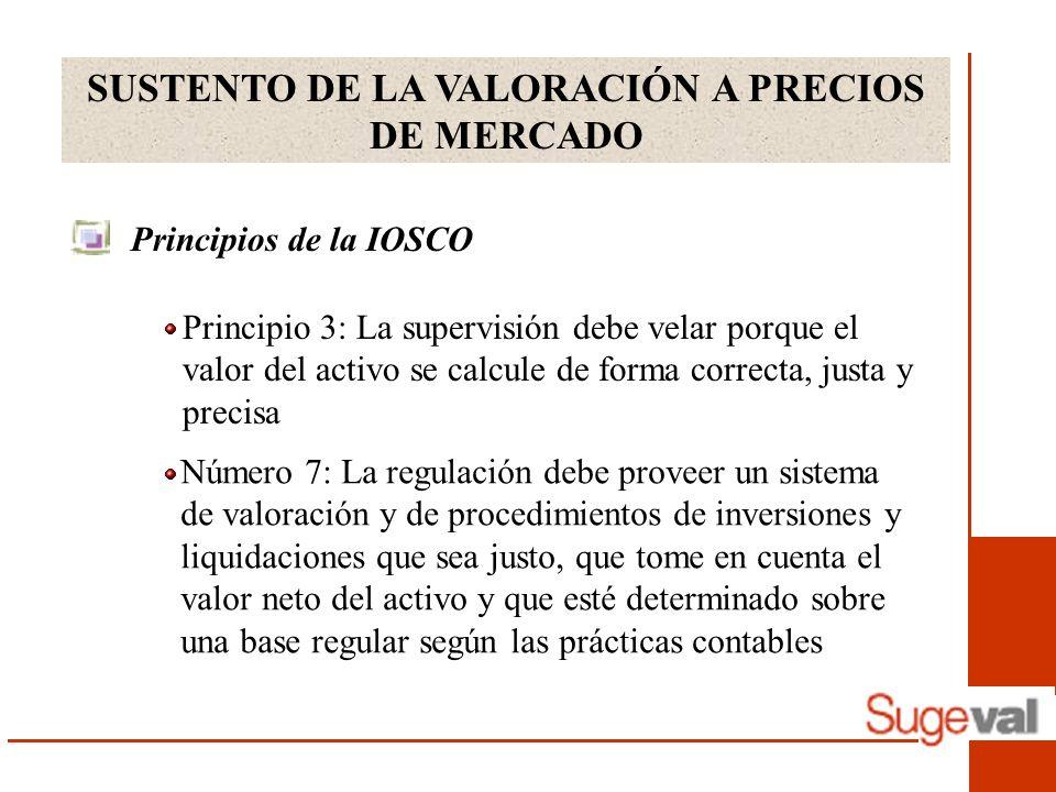 SUSTENTO DE LA VALORACIÓN A PRECIOS DE MERCADO Principios de la IOSCO Número 7: La regulación debe proveer un sistema de valoración y de procedimiento