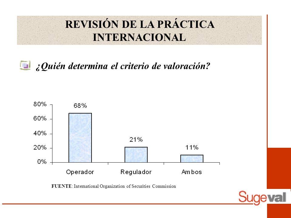 REVISIÓN DE LA PRÁCTICA INTERNACIONAL ¿Quién determina el criterio de valoración? FUENTE: International Organization of Securities Commission