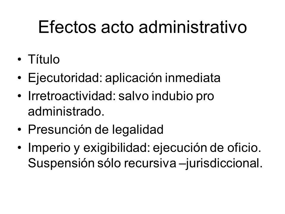 Efectos acto administrativo Título Ejecutoridad: aplicación inmediata Irretroactividad: salvo indubio pro administrado. Presunción de legalidad Imperi