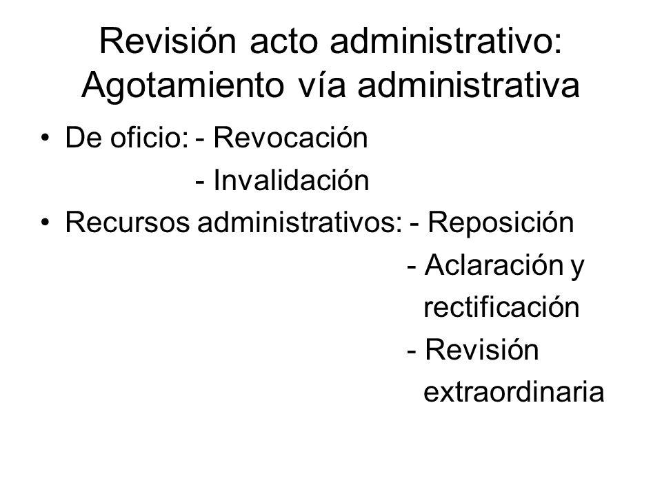 Revisión acto administrativo: Agotamiento vía administrativa De oficio: - Revocación - Invalidación Recursos administrativos: - Reposición - Aclaració