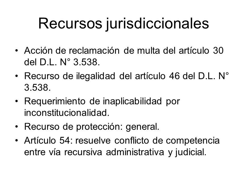 Recursos jurisdiccionales Acción de reclamación de multa del artículo 30 del D.L. N° 3.538. Recurso de ilegalidad del artículo 46 del D.L. N° 3.538. R