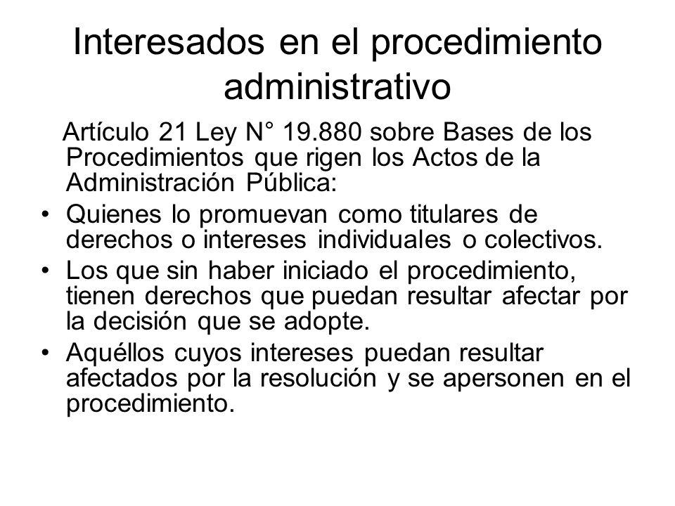 Interesados en el procedimiento administrativo Artículo 21 Ley N° 19.880 sobre Bases de los Procedimientos que rigen los Actos de la Administración Pú