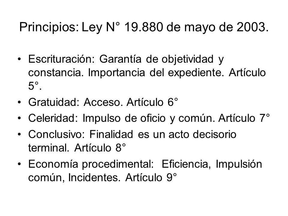 Principios: Ley N° 19.880 de mayo de 2003. Escrituración: Garantía de objetividad y constancia. Importancia del expediente. Artículo 5°. Gratuidad: Ac
