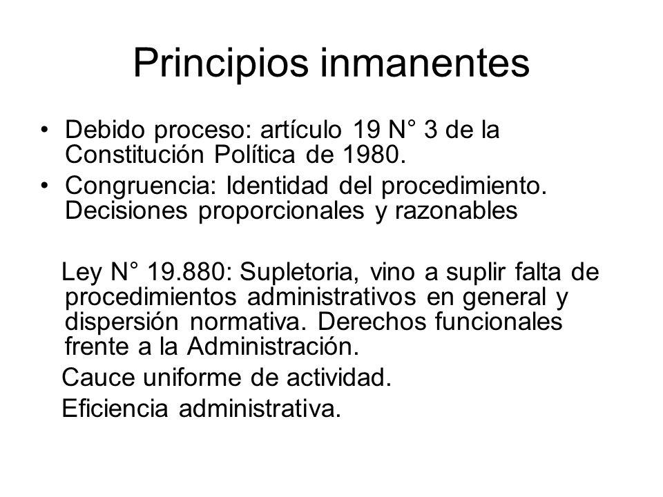 Principios inmanentes Debido proceso: artículo 19 N° 3 de la Constitución Política de 1980. Congruencia: Identidad del procedimiento. Decisiones propo