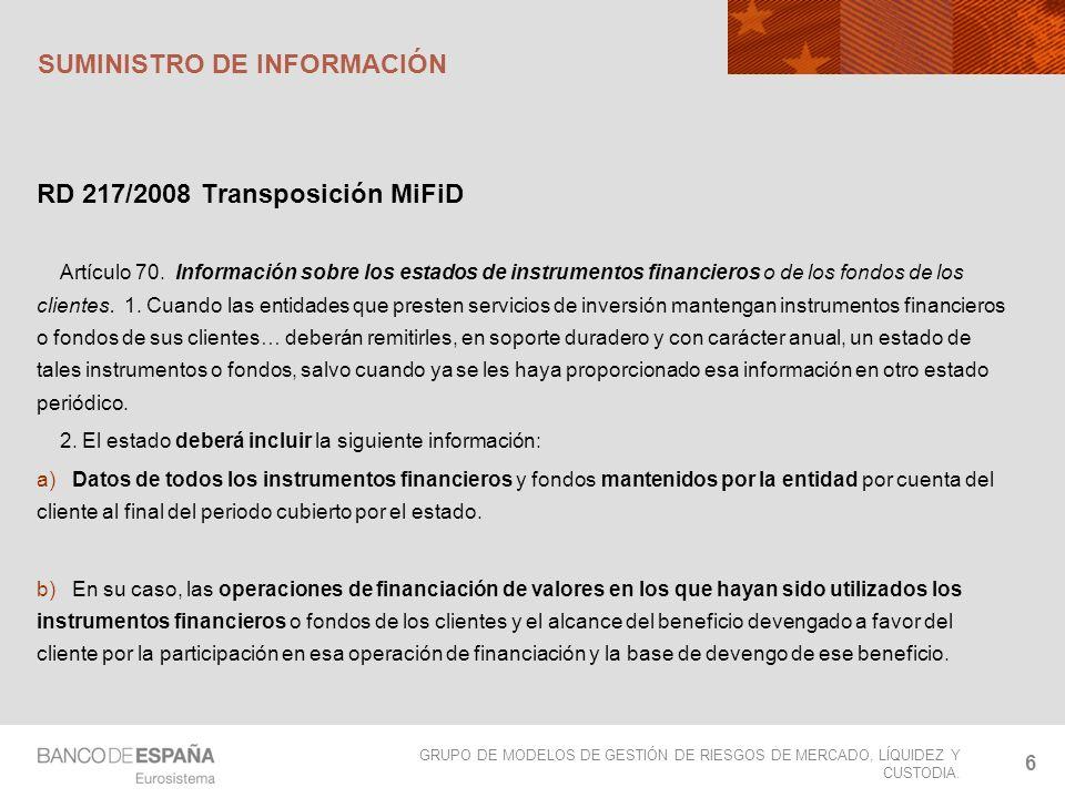 GRUPO DE MODELOS DE GESTIÓN DE RIESGOS DE MERCADO, LÍQUIDEZ Y CUSTODIA.