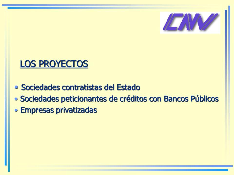 LOS PROYECTOS Sociedades contratistas del Estado Sociedades contratistas del Estado Sociedades peticionantes de créditos con Bancos Públicos Sociedades peticionantes de créditos con Bancos Públicos Empresas privatizadas Empresas privatizadas