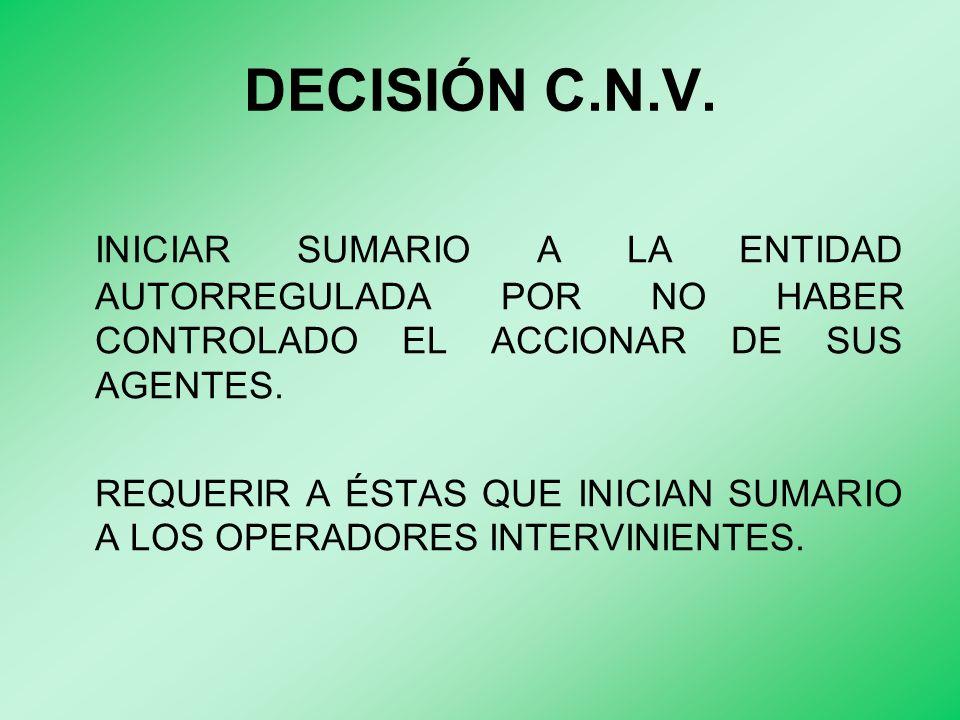 DECISIÓN C.N.V. INICIAR SUMARIO A LA ENTIDAD AUTORREGULADA POR NO HABER CONTROLADO EL ACCIONAR DE SUS AGENTES. REQUERIR A ÉSTAS QUE INICIAN SUMARIO A