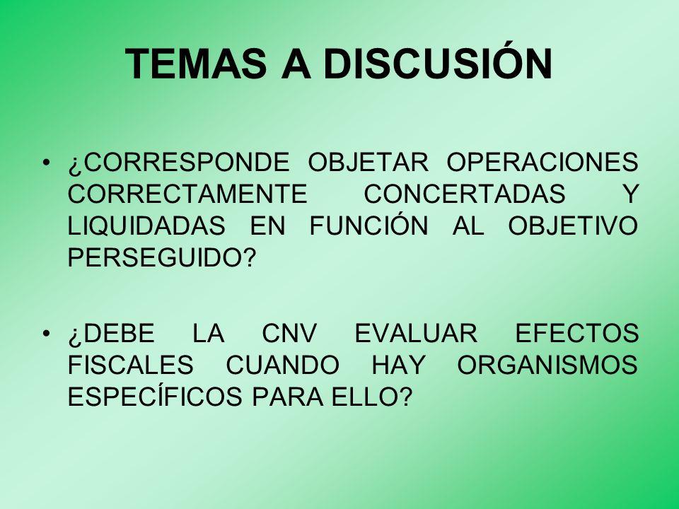 TEMAS A DISCUSIÓN ¿CORRESPONDE OBJETAR OPERACIONES CORRECTAMENTE CONCERTADAS Y LIQUIDADAS EN FUNCIÓN AL OBJETIVO PERSEGUIDO.