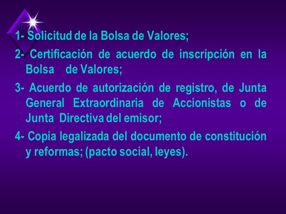 REQUISITOS PARA REGISTRO DE EMISORES DE VALORES (Artículo 9 de la Ley del Mercado de Valores, Instructivo para el Registro de Emisores y Emisiones de