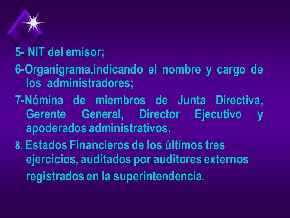 1- Solicitud de la Bolsa de Valores; 2- Certificación de acuerdo de inscripción en la Bolsa de Valores; 3- Acuerdo de autorización de registro, de Jun