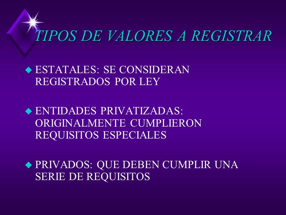 TIPOS DE VALORES A REGISTRAR u ESTATALES: SE CONSIDERAN REGISTRADOS POR LEY u ENTIDADES PRIVATIZADAS: ORIGINALMENTE CUMPLIERON REQUISITOS ESPECIALES u PRIVADOS: QUE DEBEN CUMPLIR UNA SERIE DE REQUISITOS