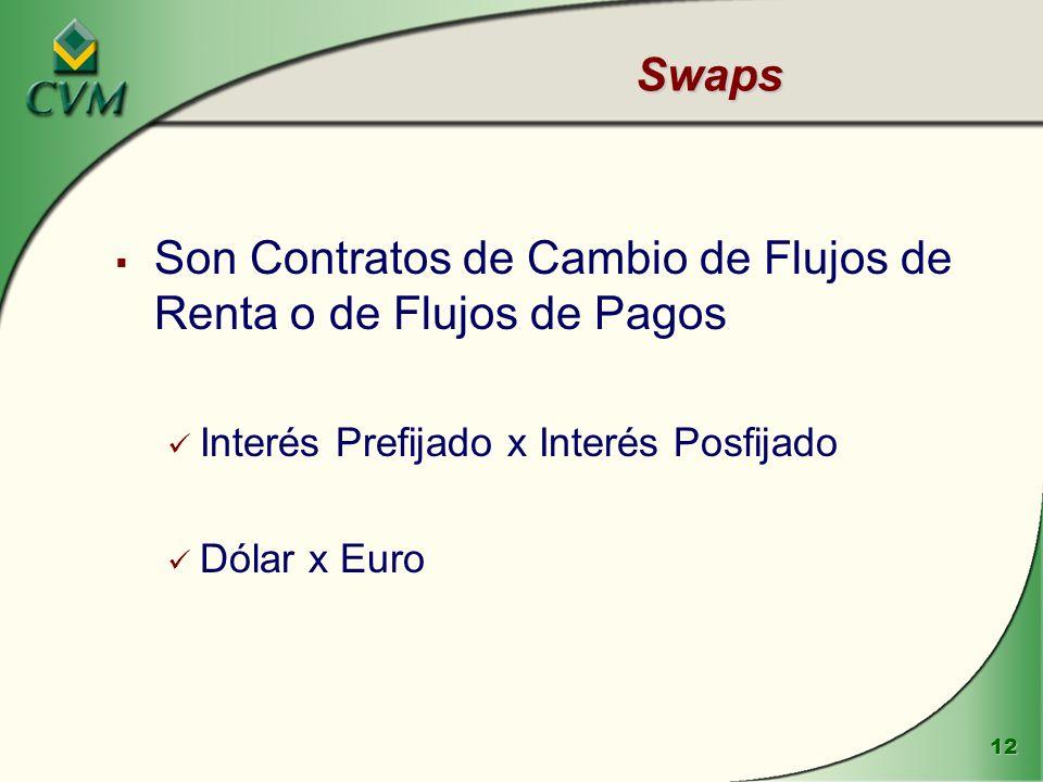 12 Swaps Son Contratos de Cambio de Flujos de Renta o de Flujos de Pagos Interés Prefijado x Interés Posfijado Dólar x Euro