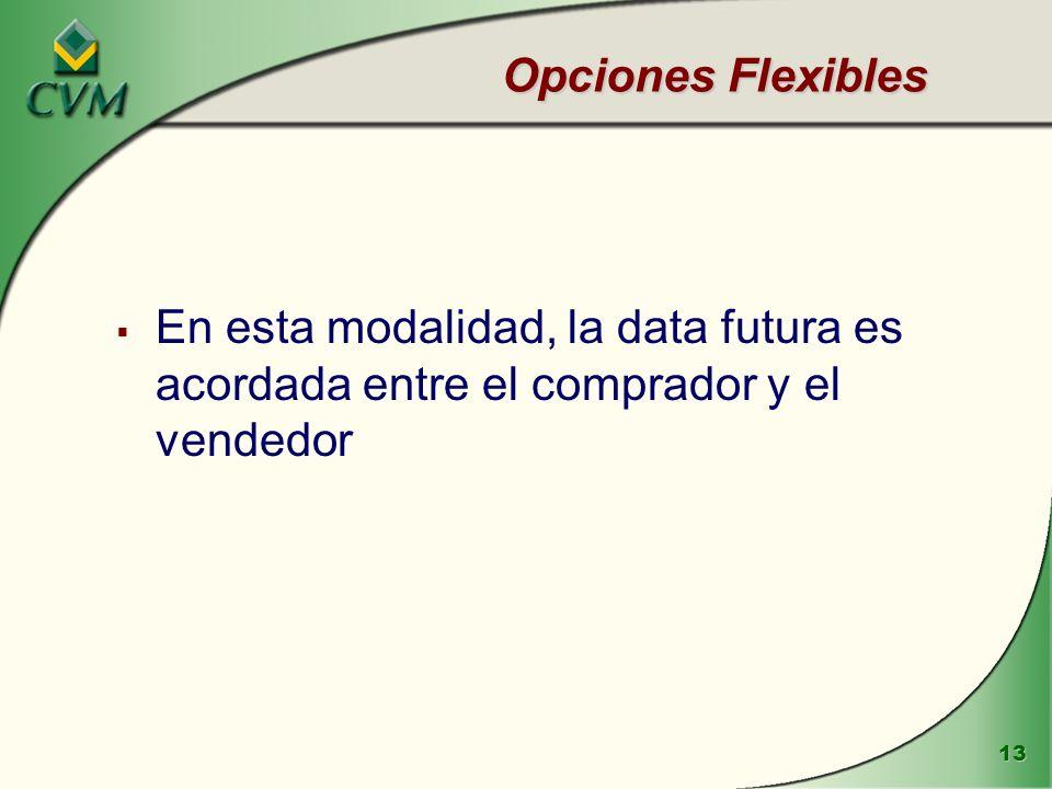 13 Opciones Flexibles En esta modalidad, la data futura es acordada entre el comprador y el vendedor