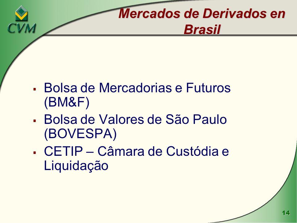 14 Mercados de Derivados en Brasil Bolsa de Mercadorias e Futuros (BM&F) Bolsa de Valores de São Paulo (BOVESPA) CETIP – Câmara de Custódia e Liquidaç