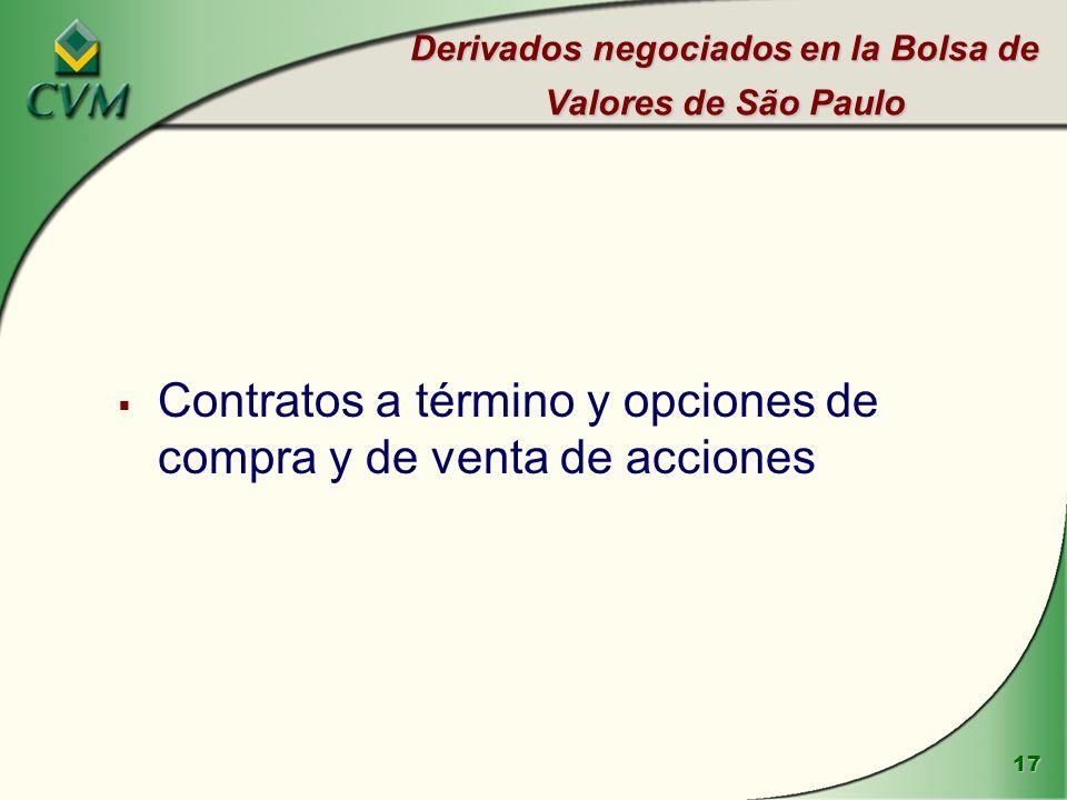17 Derivados negociados en la Bolsa de Valores de São Paulo Contratos a término y opciones de compra y de venta de acciones