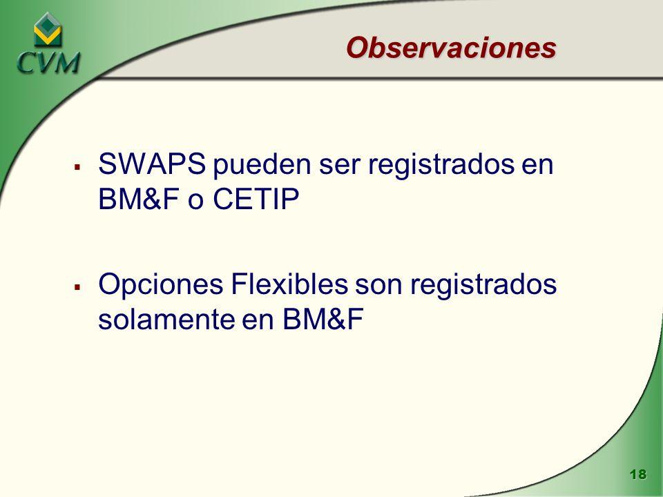 18 Observaciones SWAPS pueden ser registrados en BM&F o CETIP Opciones Flexibles son registrados solamente en BM&F