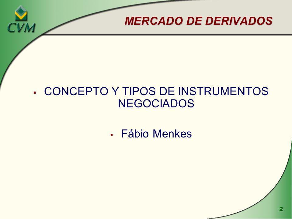 2 MERCADO DE DERIVADOS CONCEPTO Y TIPOS DE INSTRUMENTOS NEGOCIADOS Fábio Menkes
