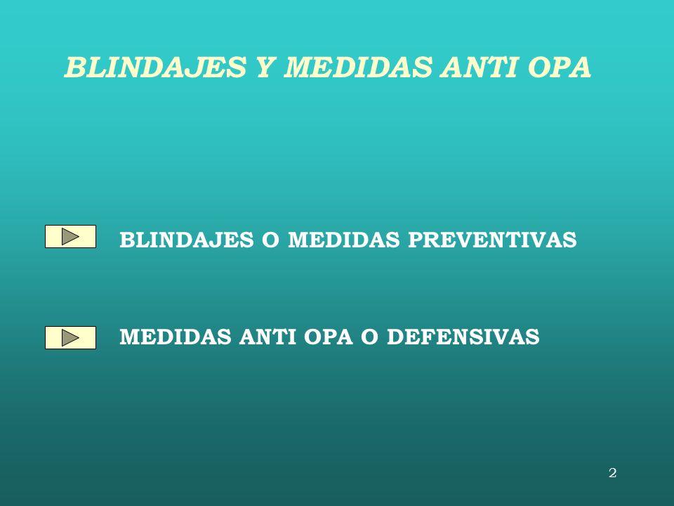 2 BLINDAJES O MEDIDAS PREVENTIVAS MEDIDAS ANTI OPA O DEFENSIVAS BLINDAJES Y MEDIDAS ANTI OPA