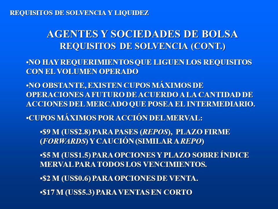 AGENTES Y SOCIEDADES DE BOLSA REQUISITOS DE SOLVENCIA (CONT.) REQUISITOS DE SOLVENCIA Y LIQUIDEZ NO HAY REQUERIMIENTOS QUE LIGUEN LOS REQUISITOS CON E