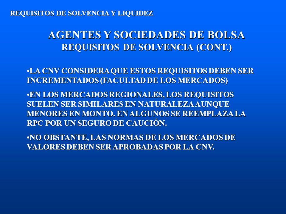 AGENTES Y SOCIEDADES DE BOLSA REQUISITOS DE SOLVENCIA (CONT.) REQUISITOS DE SOLVENCIA Y LIQUIDEZ LA CNV CONSIDERA QUE ESTOS REQUISITOS DEBEN SER INCRE