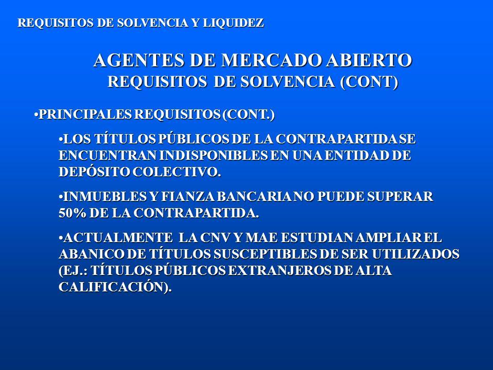 AGENTES DE MERCADO ABIERTO REQUISITOS DE SOLVENCIA (CONT) REQUISITOS DE SOLVENCIA Y LIQUIDEZ PRINCIPALES REQUISITOS (CONT.)PRINCIPALES REQUISITOS (CON