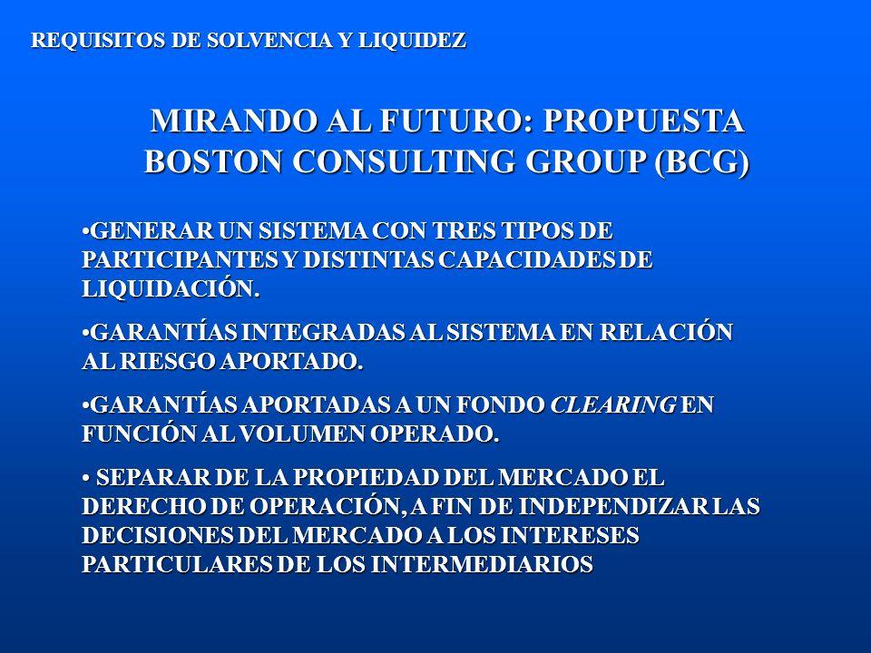 MIRANDO AL FUTURO: PROPUESTA BOSTON CONSULTING GROUP (BCG) REQUISITOS DE SOLVENCIA Y LIQUIDEZ GENERAR UN SISTEMA CON TRES TIPOS DE PARTICIPANTES Y DIS