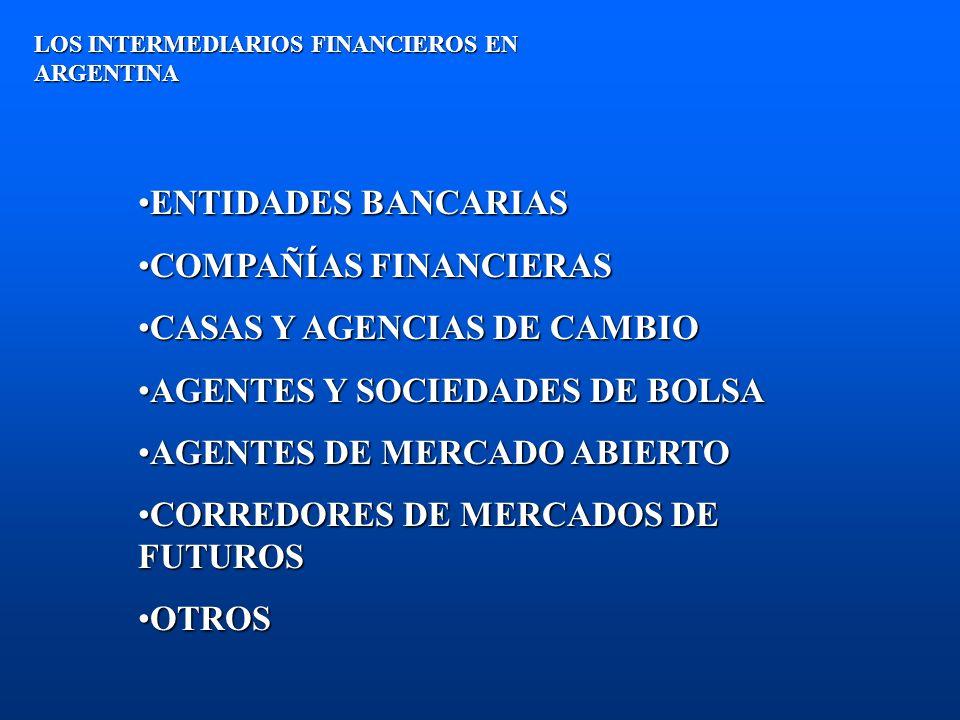 ENTIDADES BANCARIAS Y FINANCIERAS LOS INTERMEDIARIOS FINANCIEROS EN ARGENTINA SE RIGEN POR LEYES NACIONALES (Ley 21.526)SE RIGEN POR LEYES NACIONALES (Ley 21.526) AUTORIZADAS Y SUPERVISADAS DIRECTAMENTE POR EL BANCO CENTRAL DE ARGENTINA (B.C.R.A.)AUTORIZADAS Y SUPERVISADAS DIRECTAMENTE POR EL BANCO CENTRAL DE ARGENTINA (B.C.R.A.) NO PARTICIPAN EN FORMA DIRECTA COMO INTERMEDIARIOS EN LOS MERCADOS DE VALORES, SINO A TRAVÉS DE SOCIEDADES DE BOLSA CONTROLADAS (supervisadas por MERVAL y CNV).NO PARTICIPAN EN FORMA DIRECTA COMO INTERMEDIARIOS EN LOS MERCADOS DE VALORES, SINO A TRAVÉS DE SOCIEDADES DE BOLSA CONTROLADAS (supervisadas por MERVAL y CNV).