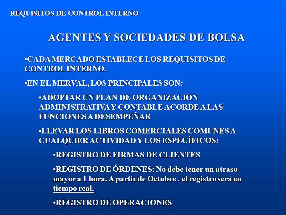 AGENTES Y SOCIEDADES DE BOLSA REQUISITOS DE CONTROL INTERNO CADA MERCADO ESTABLECE LOS REQUISITOS DE CONTROL INTERNO.CADA MERCADO ESTABLECE LOS REQUIS