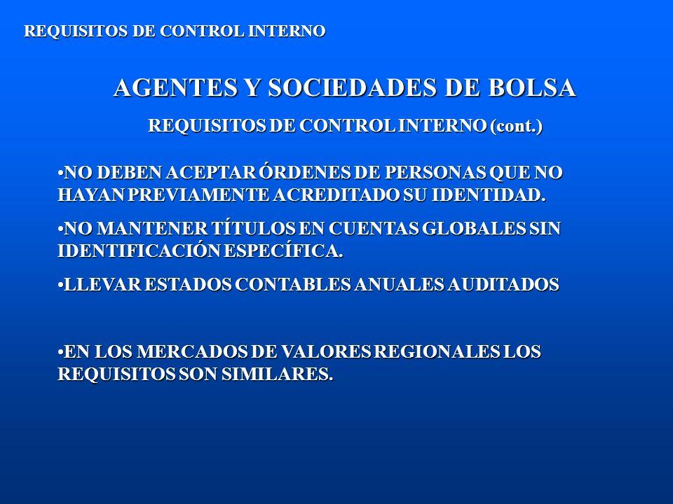 AGENTES Y SOCIEDADES DE BOLSA REQUISITOS DE CONTROL INTERNO (cont.) REQUISITOS DE CONTROL INTERNO NO DEBEN ACEPTAR ÓRDENES DE PERSONAS QUE NO HAYAN PR
