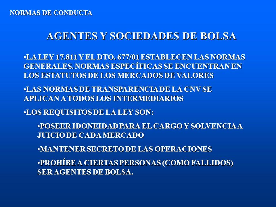 AGENTES Y SOCIEDADES DE BOLSA NORMAS DE CONDUCTA LA LEY 17.811 Y EL DTO. 677/01 ESTABLECEN LAS NORMAS GENERALES. NORMAS ESPECÍFICAS SE ENCUENTRAN EN L