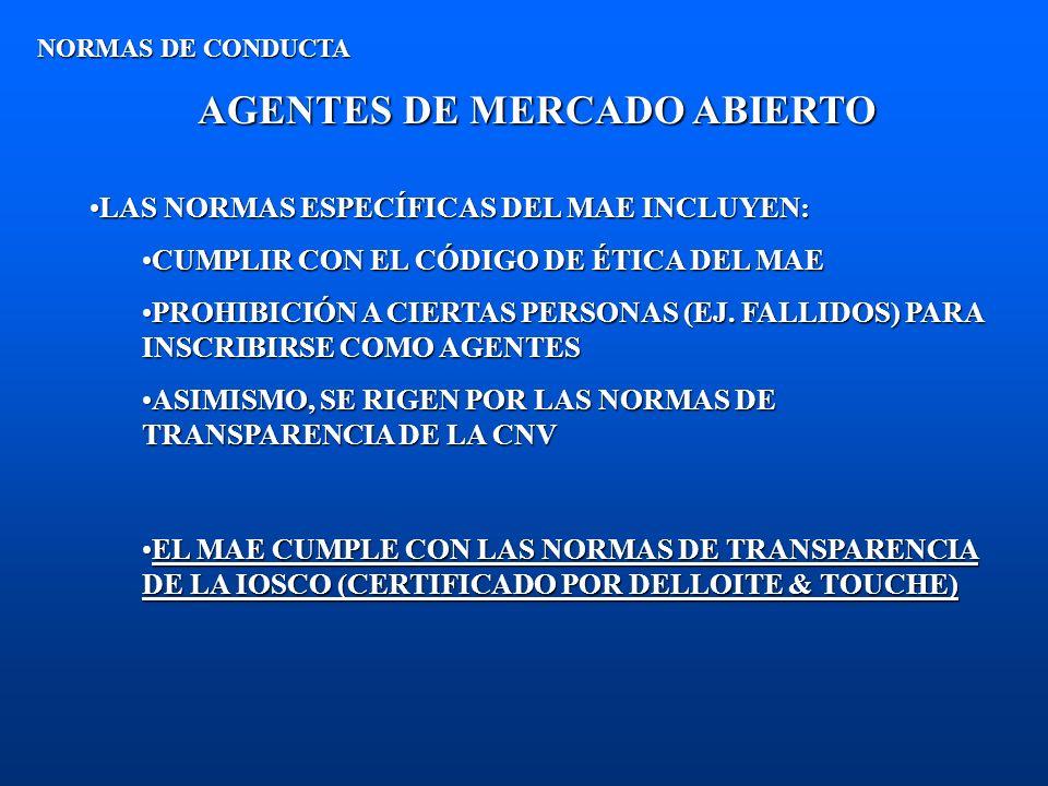 AGENTES DE MERCADO ABIERTO NORMAS DE CONDUCTA LAS NORMAS ESPECÍFICAS DEL MAE INCLUYEN:LAS NORMAS ESPECÍFICAS DEL MAE INCLUYEN: CUMPLIR CON EL CÓDIGO D