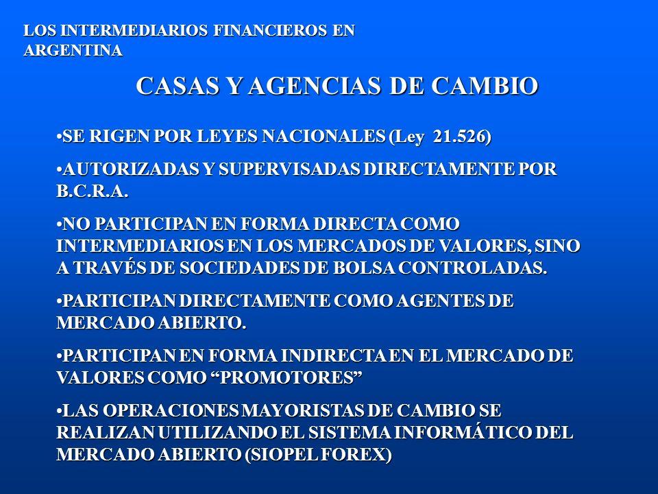 CASAS Y AGENCIAS DE CAMBIO LOS INTERMEDIARIOS FINANCIEROS EN ARGENTINA SE RIGEN POR LEYES NACIONALES (Ley 21.526)SE RIGEN POR LEYES NACIONALES (Ley 21