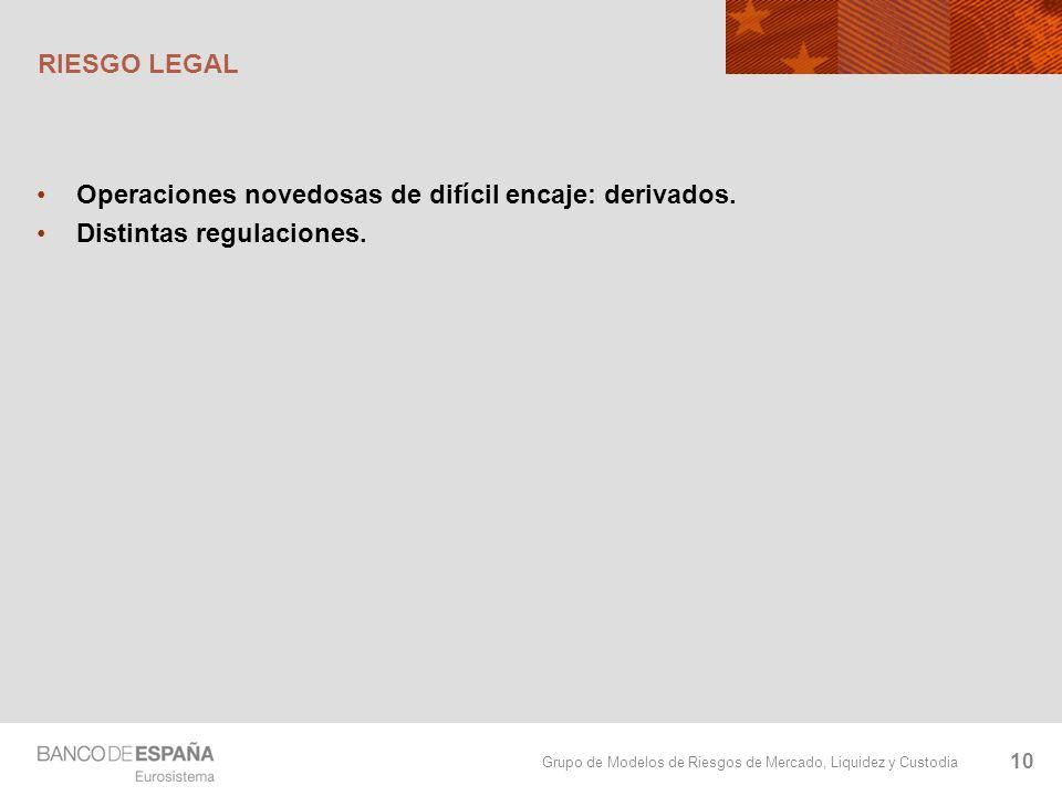 Grupo de Modelos de Riesgos de Mercado, Liquidez y Custodia RIESGO LEGAL Operaciones novedosas de difícil encaje: derivados. Distintas regulaciones. 1