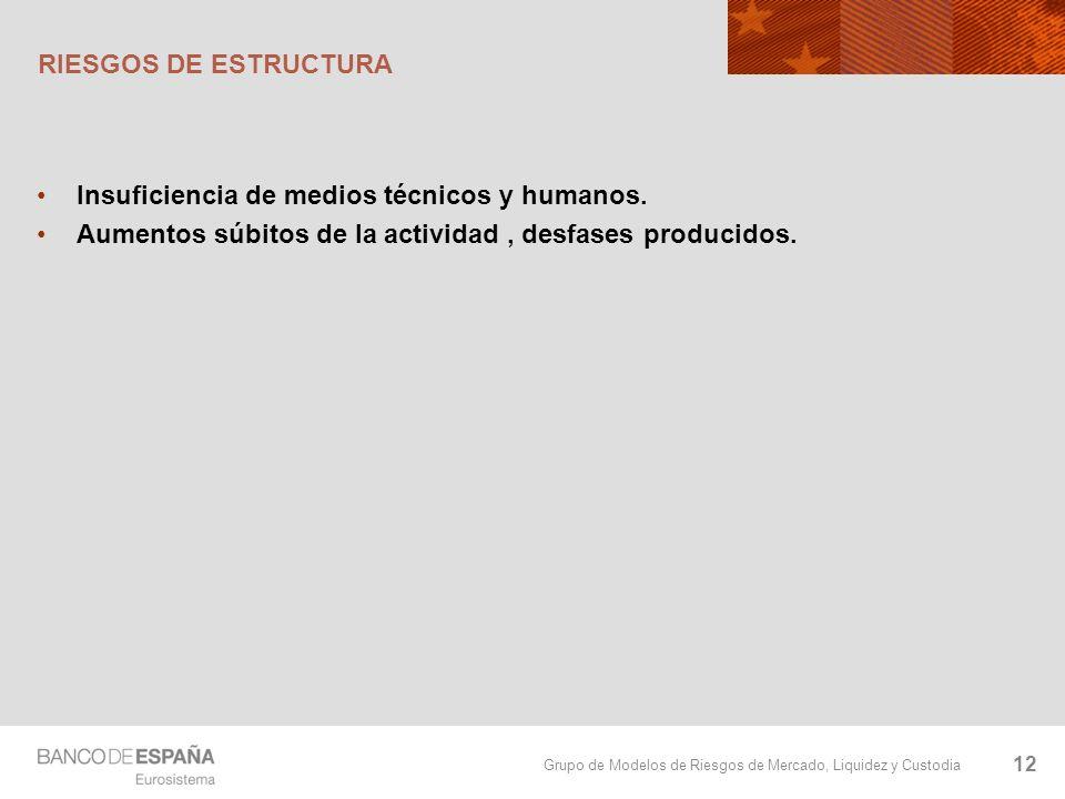 Grupo de Modelos de Riesgos de Mercado, Liquidez y Custodia RIESGOS DE ESTRUCTURA Insuficiencia de medios técnicos y humanos. Aumentos súbitos de la a