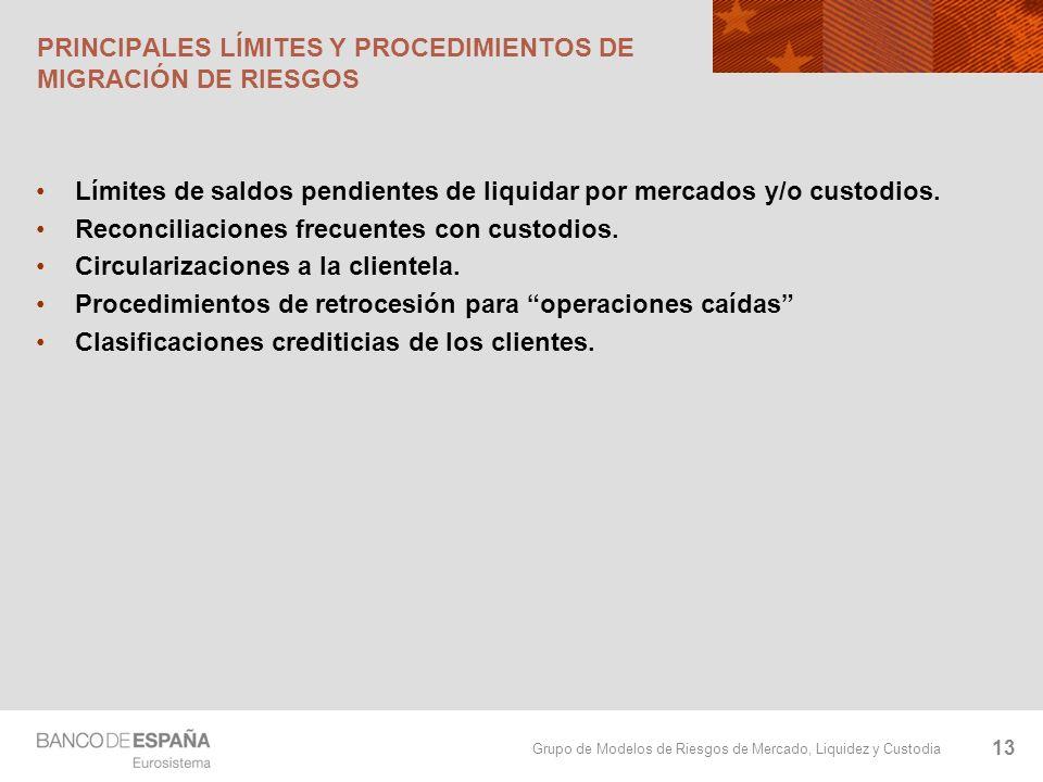 Grupo de Modelos de Riesgos de Mercado, Liquidez y Custodia PRINCIPALES LÍMITES Y PROCEDIMIENTOS DE MIGRACIÓN DE RIESGOS Límites de saldos pendientes