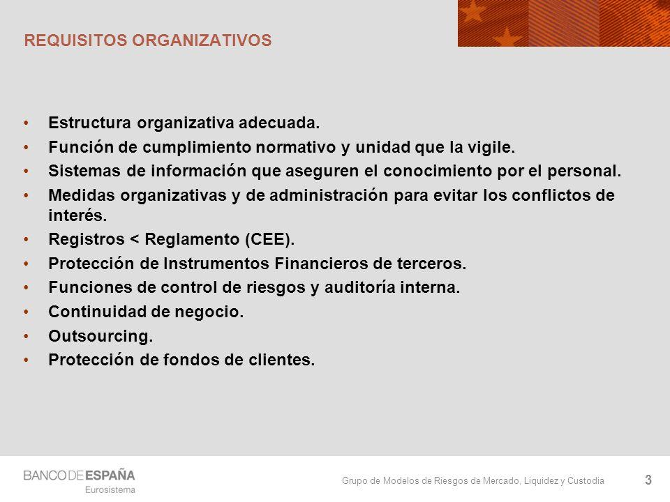 Grupo de Modelos de Riesgos de Mercado, Liquidez y Custodia REQUISITOS ORGANIZATIVOS Estructura organizativa adecuada. Función de cumplimiento normati