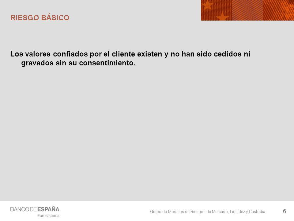 Grupo de Modelos de Riesgos de Mercado, Liquidez y Custodia RIESGO BÁSICO Los valores confiados por el cliente existen y no han sido cedidos ni gravad