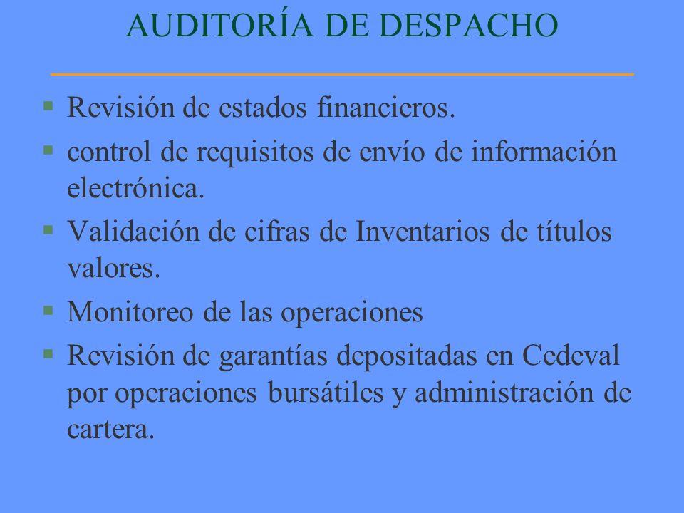 AUDITORÍA DE DESPACHO §Revisión de estados financieros. §control de requisitos de envío de información electrónica. §Validación de cifras de Inventari