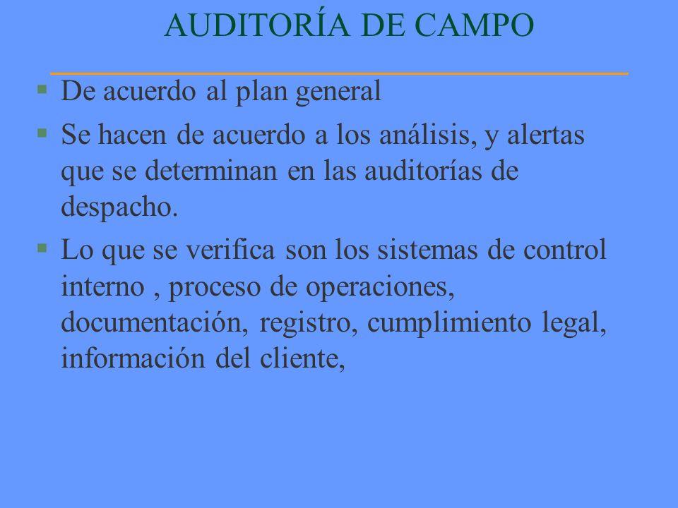 AUDITORÍA DE CAMPO §De acuerdo al plan general §Se hacen de acuerdo a los análisis, y alertas que se determinan en las auditorías de despacho. §Lo que