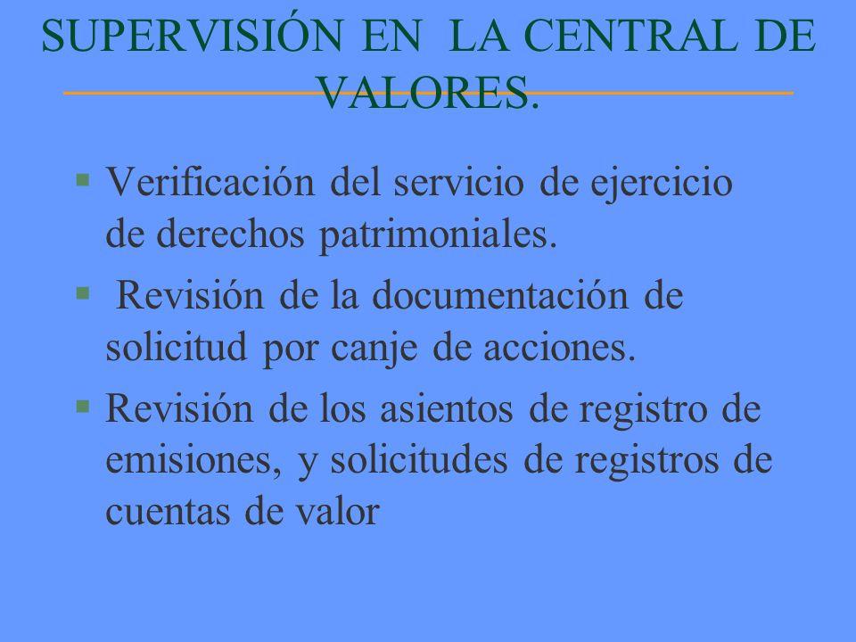 §Verificación del servicio de ejercicio de derechos patrimoniales. § Revisión de la documentación de solicitud por canje de acciones. §Revisión de los