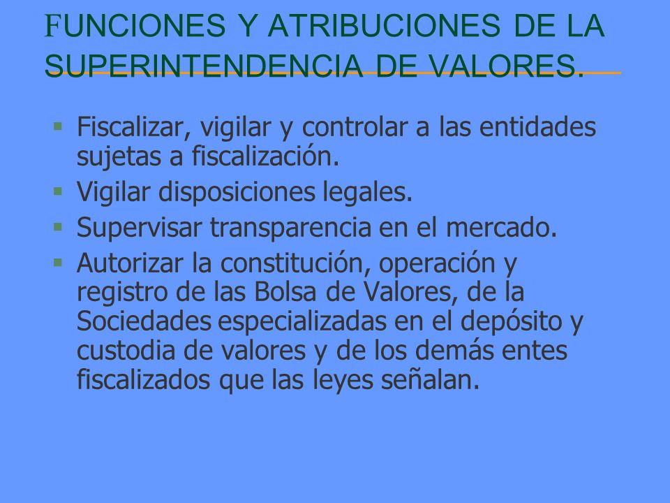 F UNCIONES Y ATRIBUCIONES DE LA SUPERINTENDENCIA DE VALORES. §Fiscalizar, vigilar y controlar a las entidades sujetas a fiscalización. §Vigilar dispos