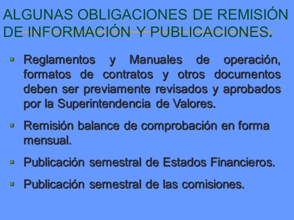 ALGUNAS OBLIGACIONES DE REMISIÓN DE INFORMACIÓN Y PUBLICACIONES. Reglamentos y Manuales de operación, formatos de contratos y otros documentos deben s