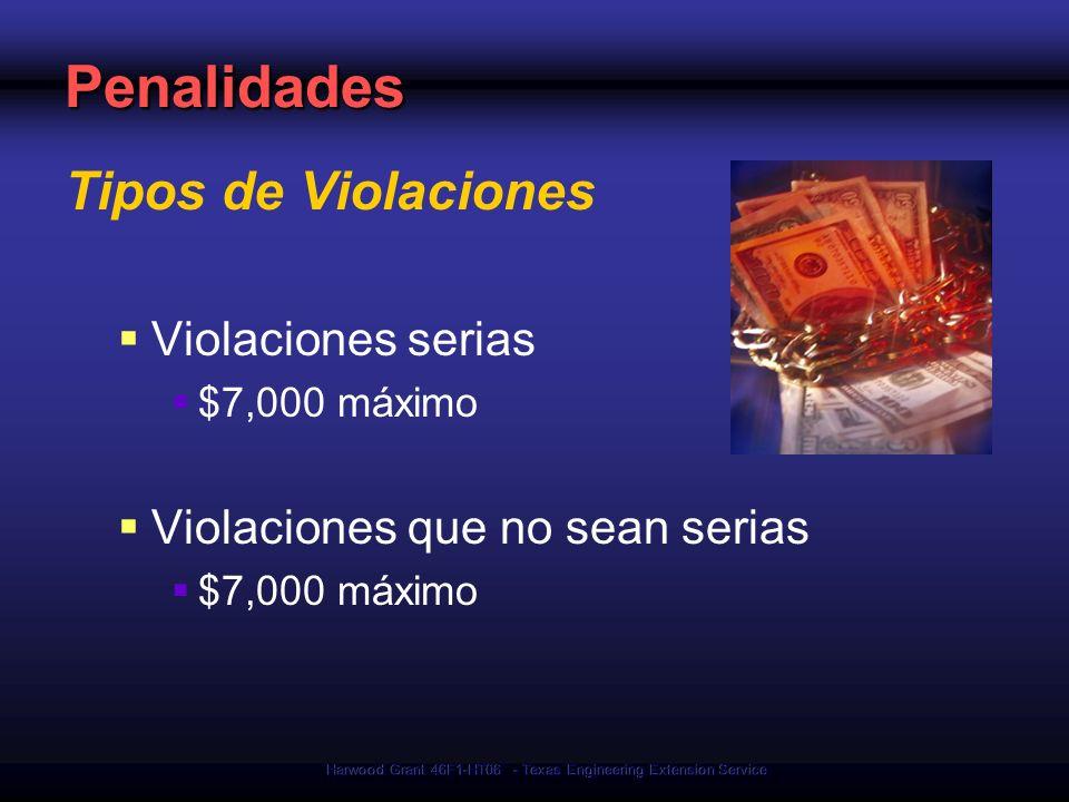 Harwood Grant 46F1-HT06 - Texas Engineering Extension Service Penalidades Tipos de Violaciones Violaciones serias $7,000 máximo Violaciones que no sea