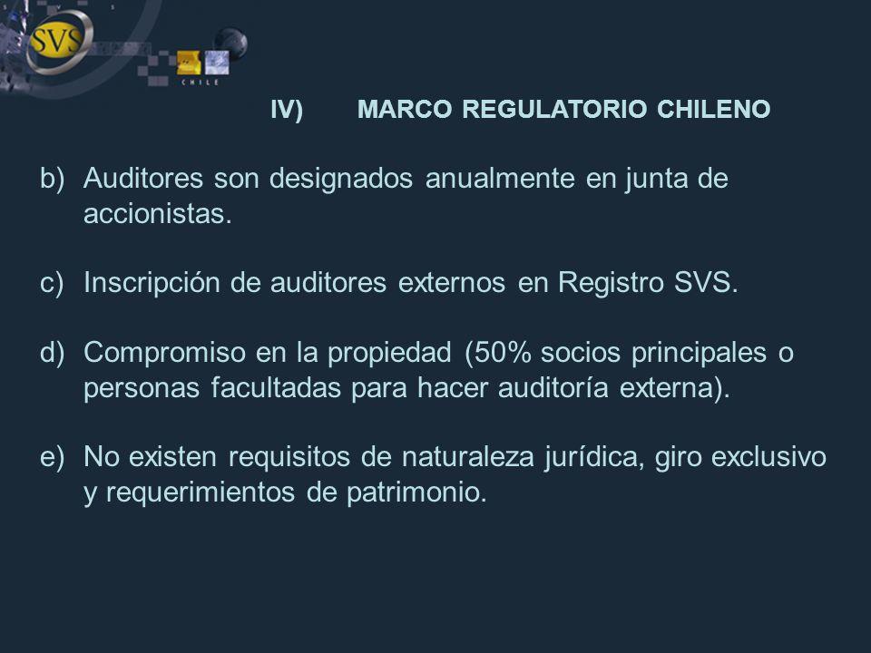 IV)MARCO REGULATORIO CHILENO b)Auditores son designados anualmente en junta de accionistas. c)Inscripción de auditores externos en Registro SVS. d)Com