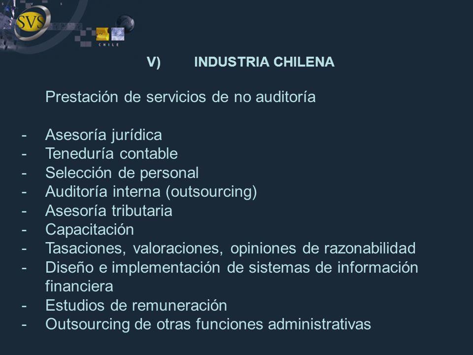 Prestación de servicios de no auditoría -Asesoría jurídica -Teneduría contable -Selección de personal -Auditoría interna (outsourcing) -Asesoría tribu