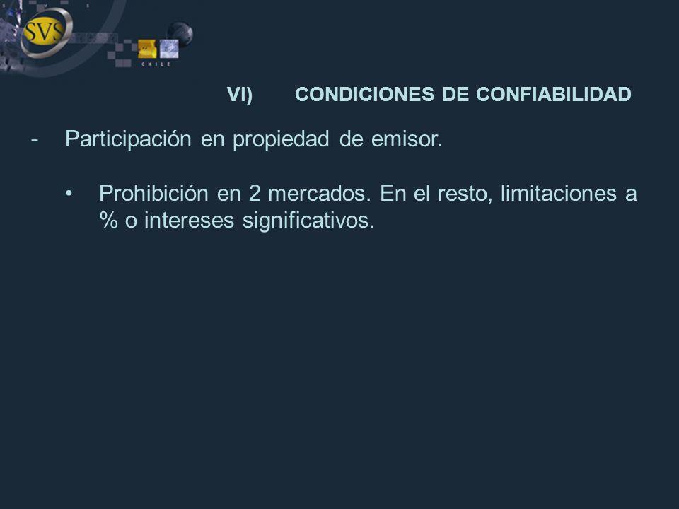 VI)CONDICIONES DE CONFIABILIDAD -Participación en propiedad de emisor. Prohibición en 2 mercados. En el resto, limitaciones a % o intereses significat