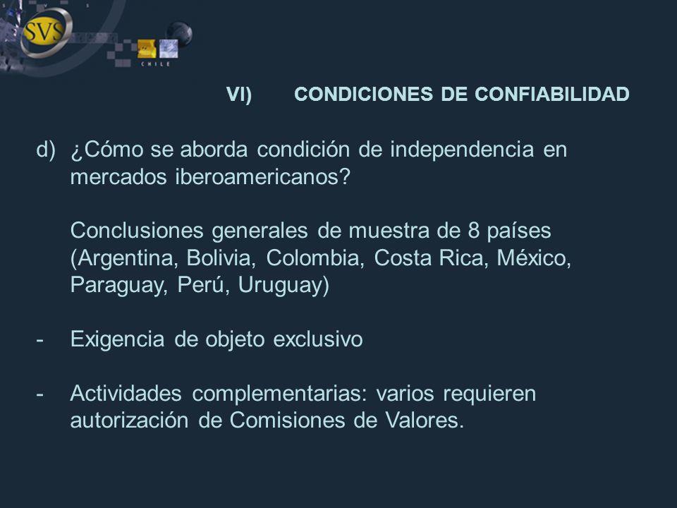 d)¿Cómo se aborda condición de independencia en mercados iberoamericanos? Conclusiones generales de muestra de 8 países (Argentina, Bolivia, Colombia,