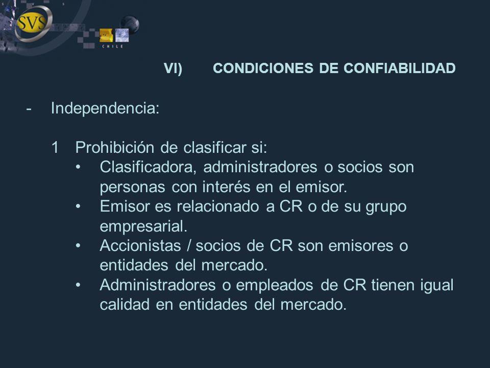 -Independencia: 1Prohibición de clasificar si: Clasificadora, administradores o socios son personas con interés en el emisor. Emisor es relacionado a