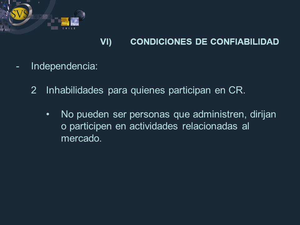 -Independencia: 2Inhabilidades para quienes participan en CR. No pueden ser personas que administren, dirijan o participen en actividades relacionadas